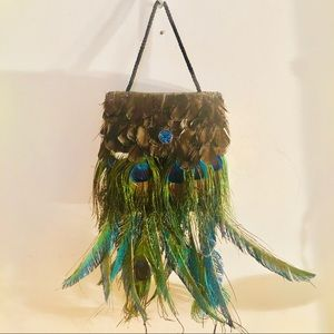 Handbags - Beaded clutch w/peacock feathers